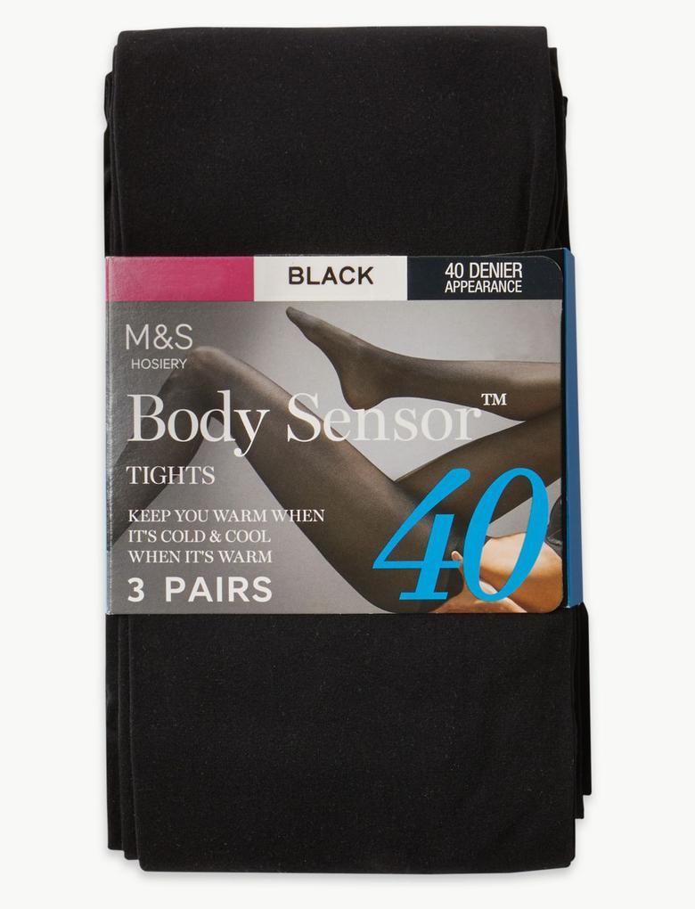 Siyah 3'lü Body Sensor™ 40 Denye Külotlu Çorap Seti
