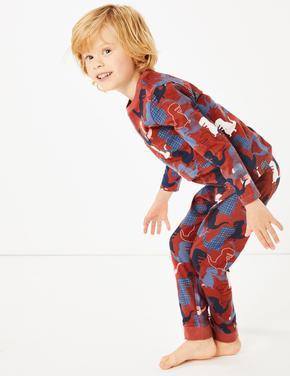 Pembe 2'li Dinozor Desenli Pijama Seti