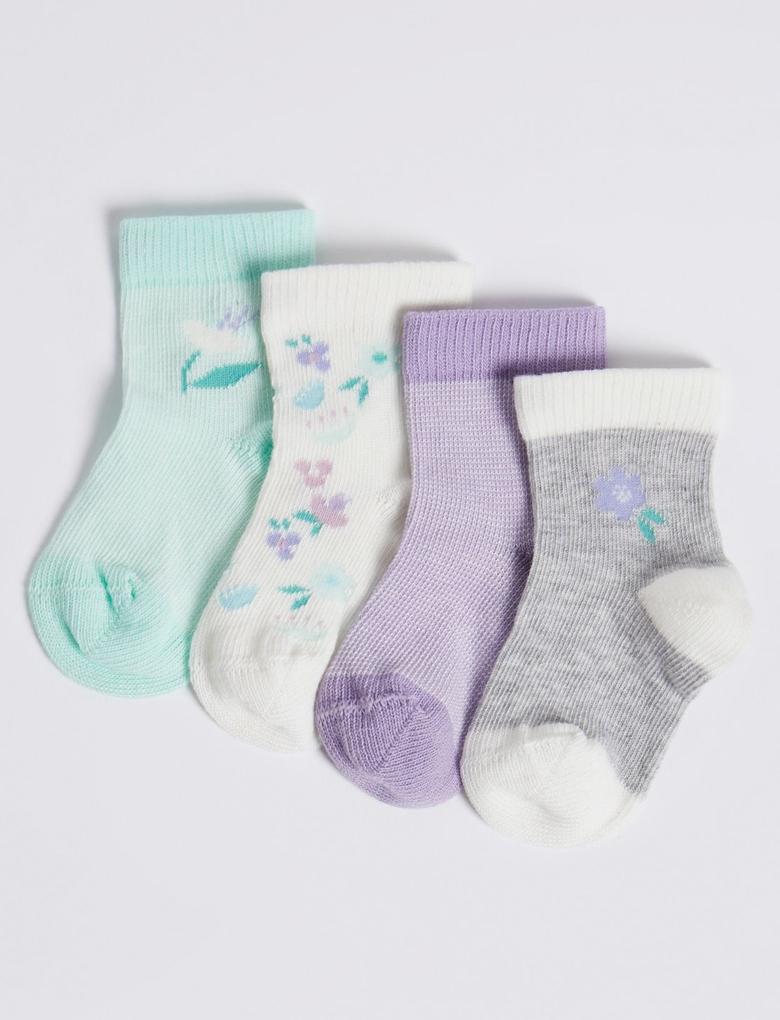 Bebek Multi Renk 4'lü Çiçek Desenli Çorap Seti