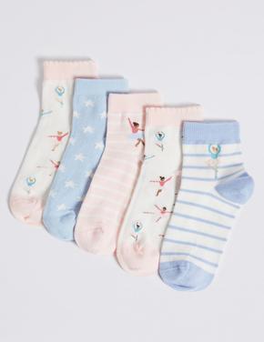 5'li Balerin Desenli Çorap Seti