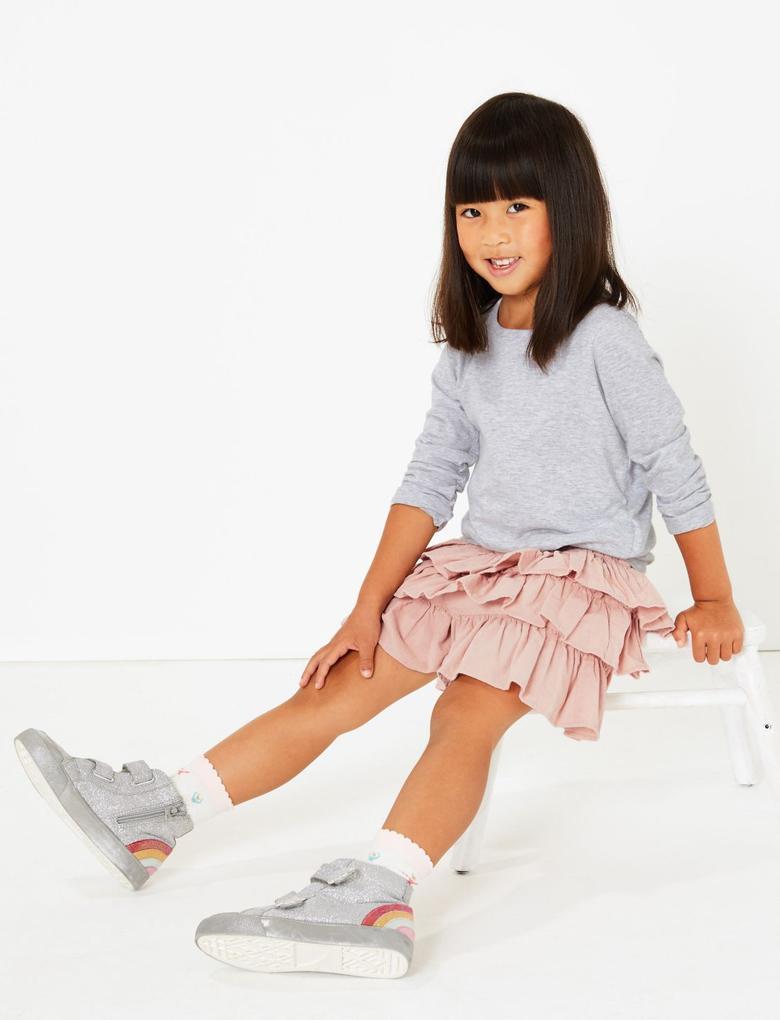 Pembe 5'li Balerin Desenli Çorap Seti