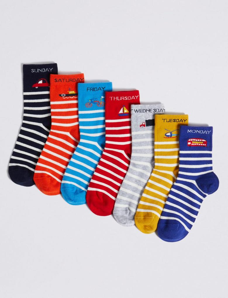 Çocuk Multi Renk 7'li Haftanın Günleri Temalı Çorap Seti