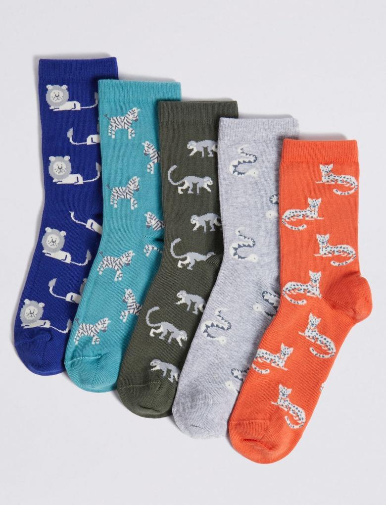 Erkek Çocuk Multi Renk 5'li Orman Temalı Çorap Seti