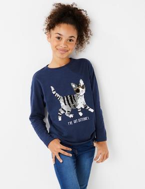 Kedi İşlemeli Pullu T-Shirt