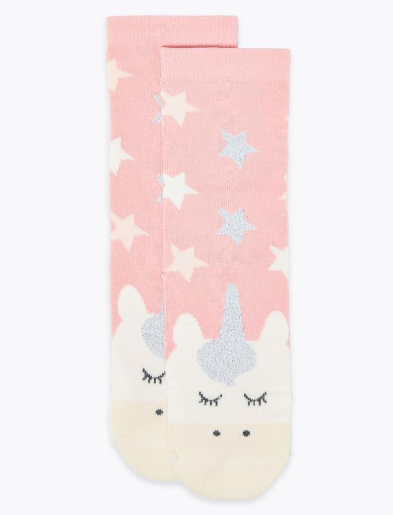 Multi Renk Unicorn Desenli Çorap