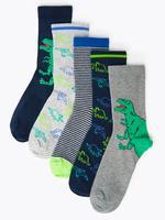 Çocuk Mavi 5'li Dinozor Desenli Çorap Seti
