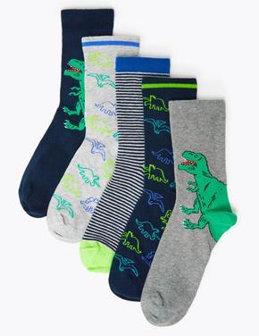 5'li Dinazor Desenli Çorap Seti