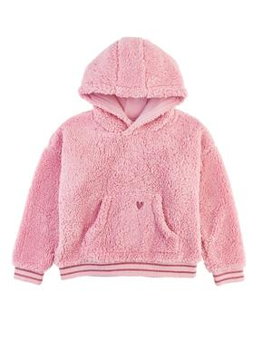 Kız Çocuk Pembe Yumuşak Dokulu Kapüşonlu Sweatshirt