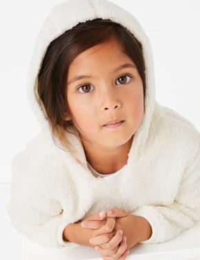 Kız Çocuk Bej Yumuşak Dokulu Kapüşonlu Sweatshirt