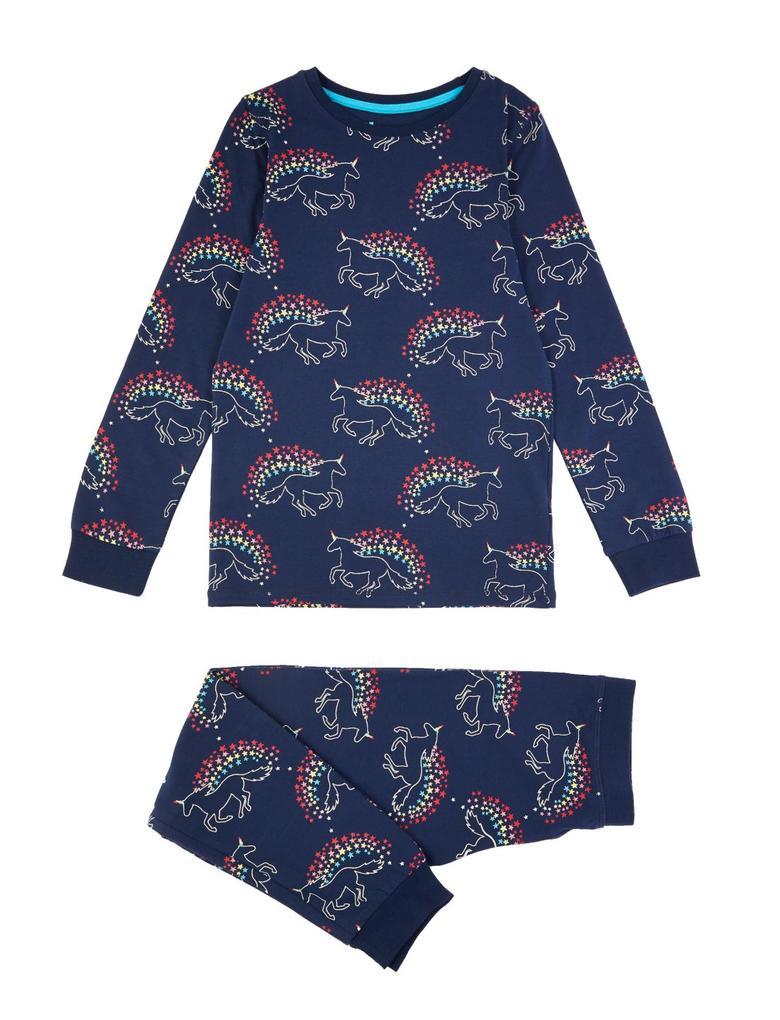 Çocuk Lacivert Unicorn Desenli Pijama Takımı