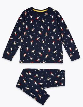 Pamuklu Penguen Desenli Pijama Takımı