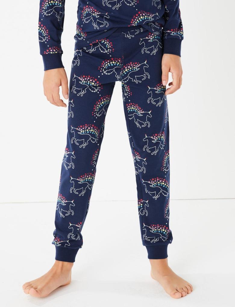 Kız Çocuk Lacivert Unicorn Desenli Pijama Takımı