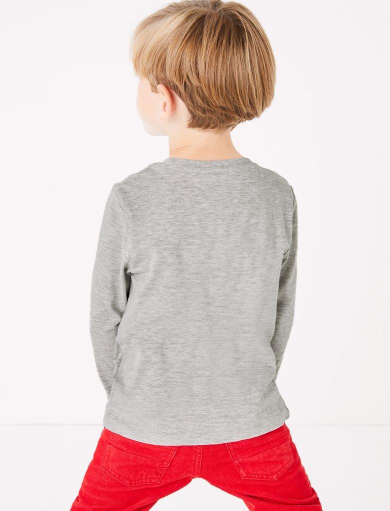 Erkek Çocuk Multi Renk Penguen Desenli T-shirt