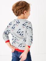 Erkek Çocuk Gri Penguen Desenli Sweatshirt