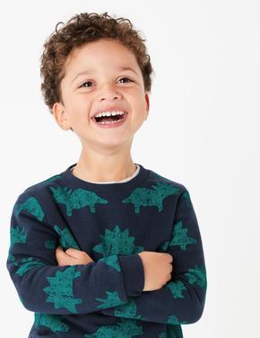 Yeşil Dinozor Desenli Sweatshirt
