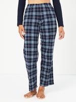 Kadın Lacivert Ekose Pijama Takımı