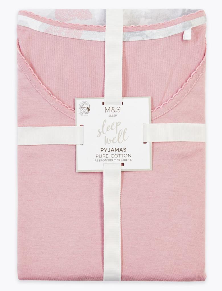 Kadın Pembe Saf Pamuklu Pijama Takımı