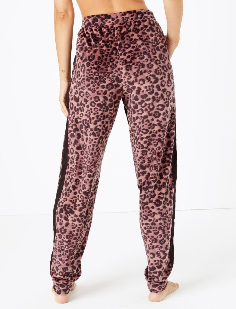 Kadın Renksiz Leopar Desenli Polar Pijama Altı