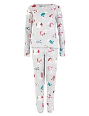 Desenli Polar Pijama Takımı