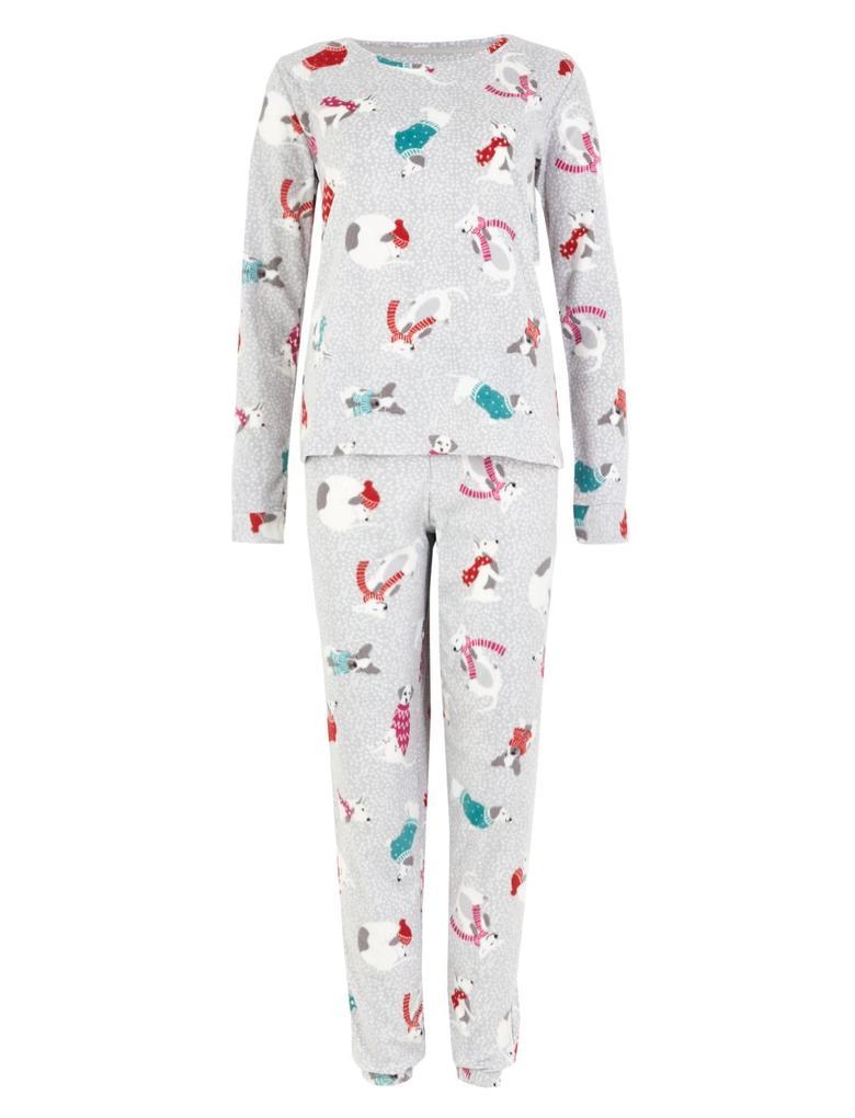 Gri Desenli Polar Pijama Takımı