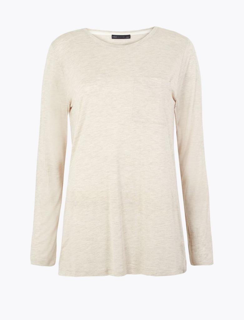 Kadın Bej Uzun Kollu Yuvarlak Yaka T-Shirt