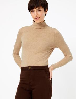 Kadın Kahverengi Uzun Kollu T-Shirt
