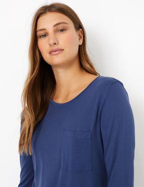 Uzun Kollu Yuvarlak Yaka T-Shirt