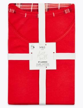 Kadın Kırmızı Ekose Pijama Takımı