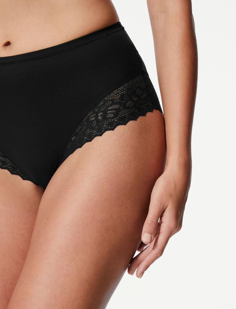 Kadın Siyah Soft™ Dantelli Full Brief Külot