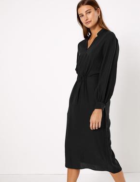 Beli Lastikli Midi Elbise