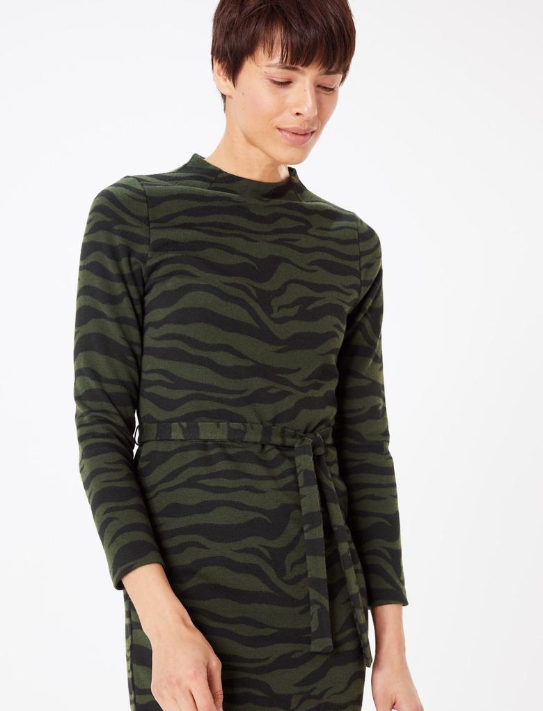 Kadın Yeşil Desenli Midi Shift Elbise