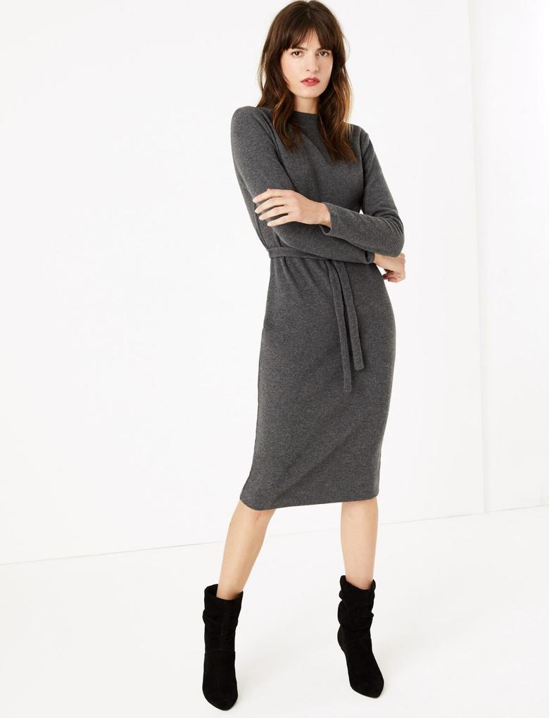 Gri Kemerli Uzun Kollu  Shift Elbise