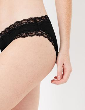 Kadın Siyah Dantelli Bikini Külot