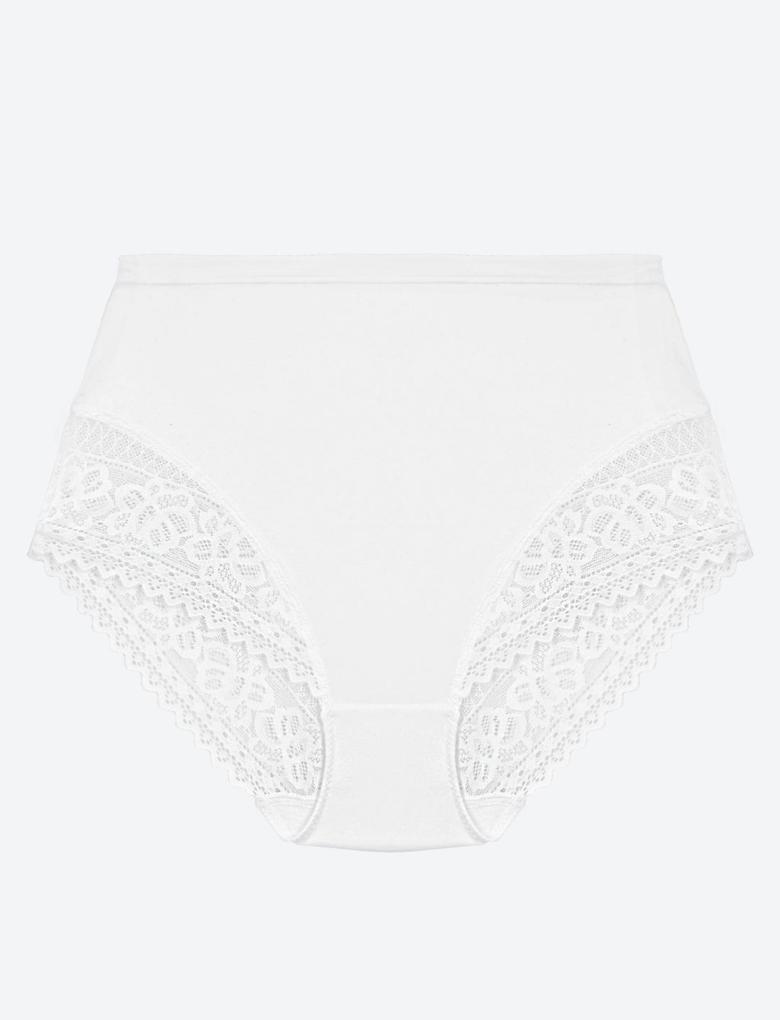 Kadın Beyaz Soft™ Dantelli Full Brief Külot