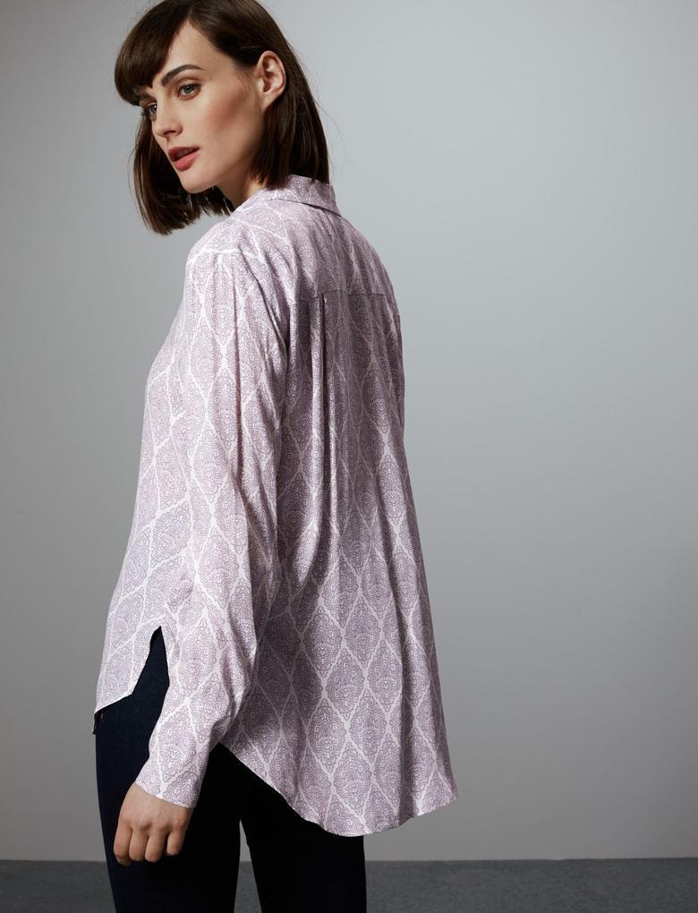 Kadın Krem Uzun Kollu Desenli Gömlek