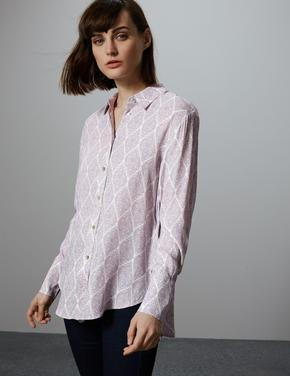 Uzun Kollu Desenli Gömlek