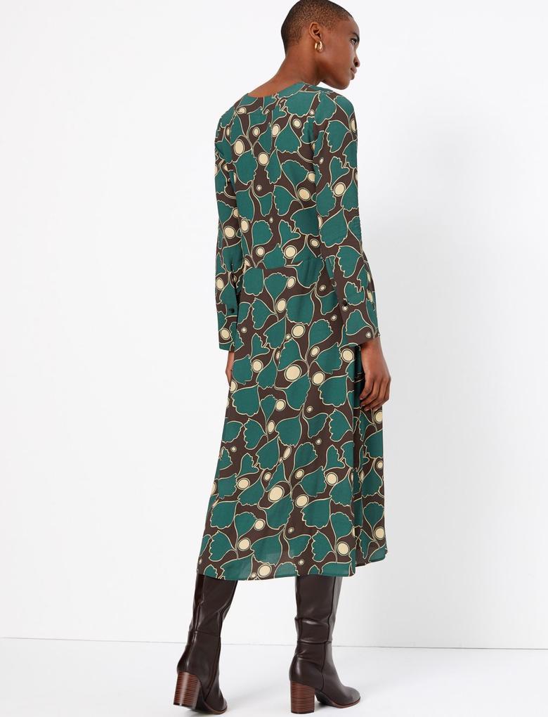 Uzun Kollu Desenli Elbise