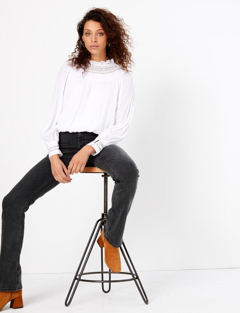 Siyah Geniş Paça Denim Pantolon