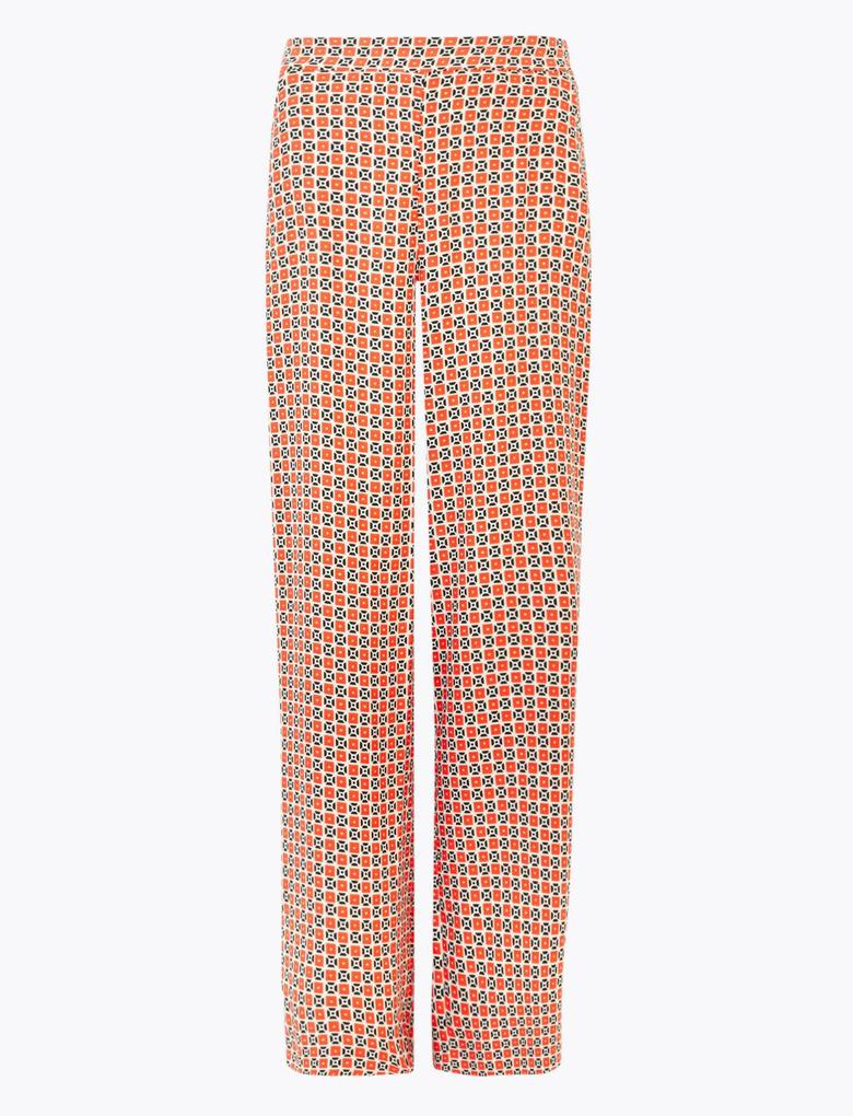 Geniş Paça Desenli Pantolon