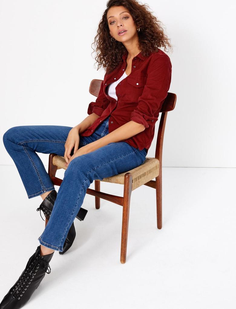 Kırmızı Kadife Uzun Kollu Gömlek