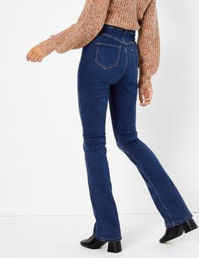 Lacivert Geniş Paça Denim Pantolon
