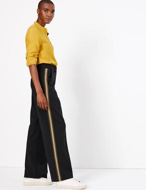 Yanları Şeritli Wide Leg Pantolon