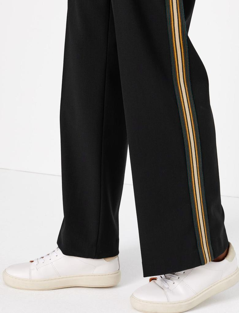 Kadın Siyah Yanları Şeritli Wide Leg Pantolon