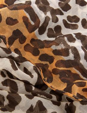 Kadın Multi Renk Leopar Desenli Şal