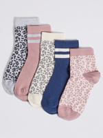 Çocuk Multi Renk 5'li Leopar Desenli Çorap Seti