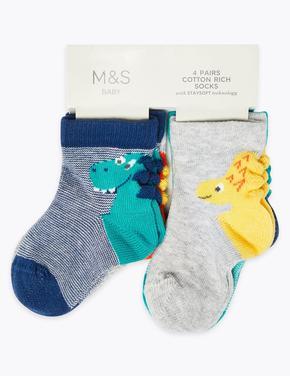4'lü Dinazor Desenli Bebek Çorap Seti