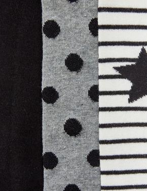 Kız Çocuk Siyah 3'lü Yıldız Ve Puantiye Desenli Külotlu Çorap Seti