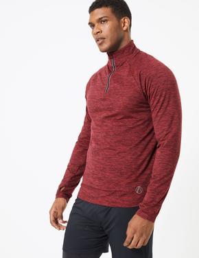 Erkek Kırmızı Yakası Fermuarlı Sweatshirt