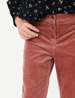 Pembe Geniş Paçalı Kadife Pantolon