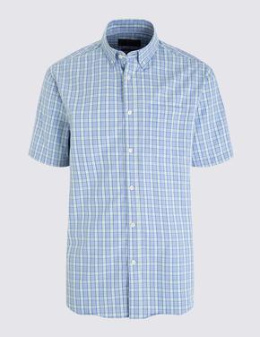Mavi Kısa Kollu Kareli Gömlek